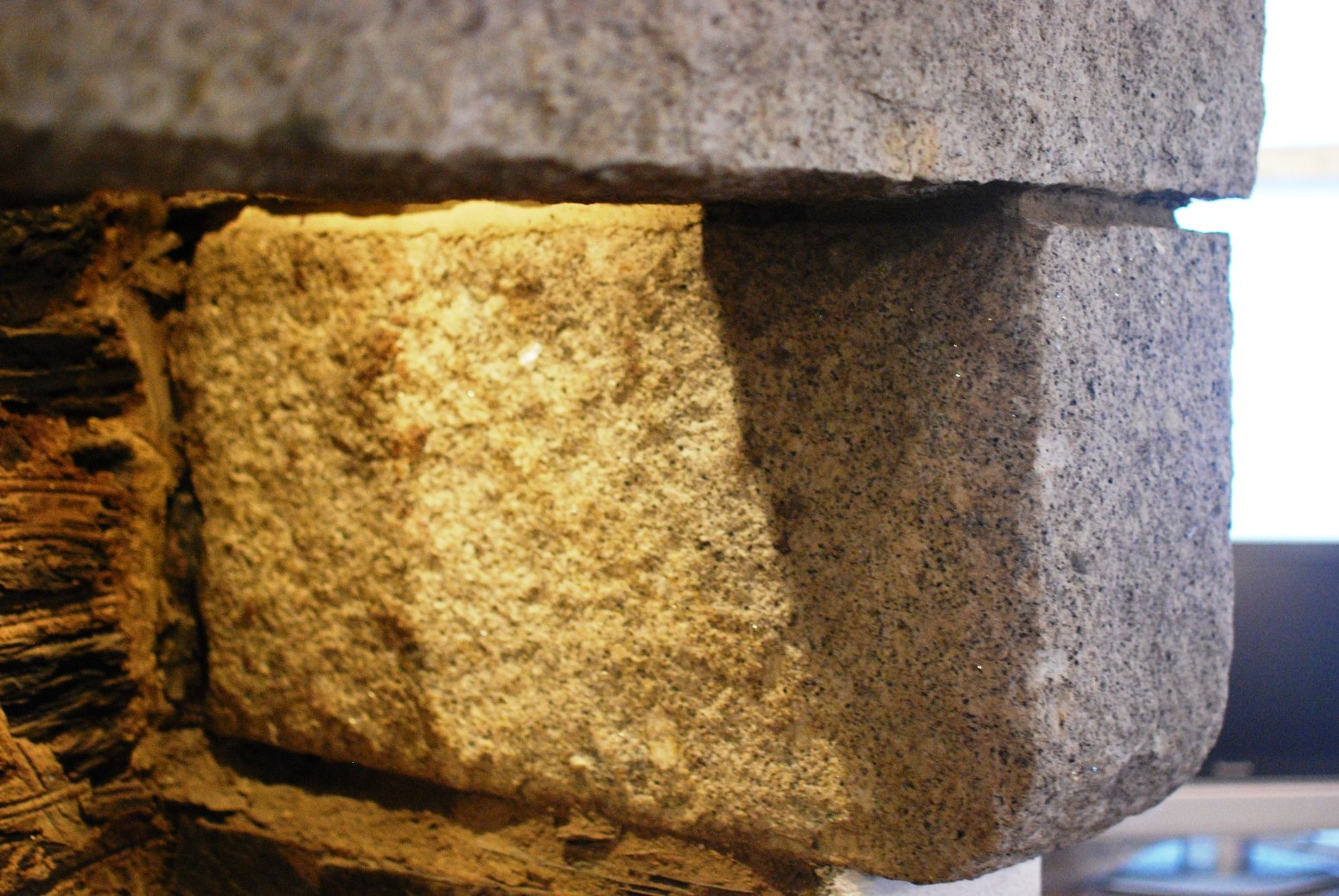 Fireplace with granite lintel