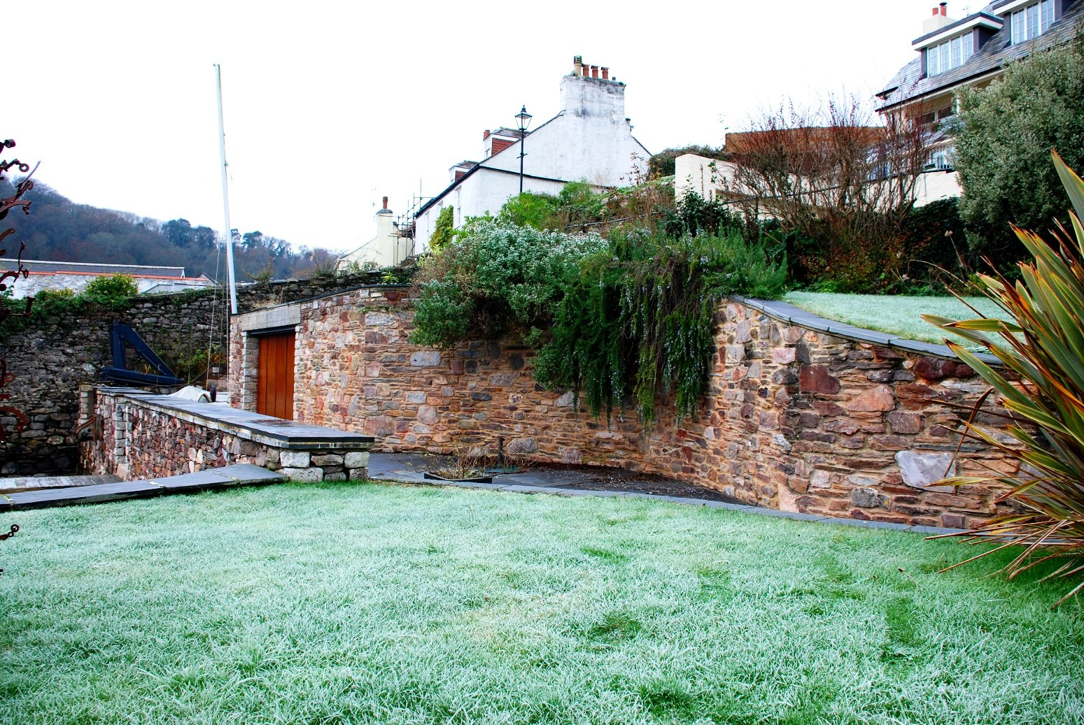 Landscaped garden with dry stone wall
