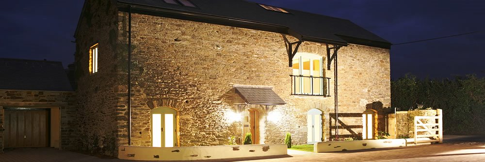 Refurbished barn conversion at night